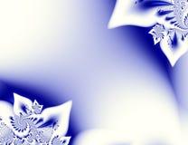 Donkerblauw wit contrast abstract fractal art. Glanzende illustratie als achtergrond met mooie blad of bloemblaadjestructuren en  Royalty-vrije Stock Fotografie