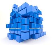 Donkerblauwe 3D kubussen. Geïsoleerd op witte achtergrond Stock Afbeeldingen