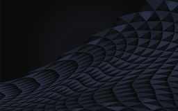 Donkerblauwe abstracte geometrische gebogen van driehoeken het vector gereserveerde van de helft-schaduw zwarte van het het volum stock illustratie