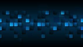 Donkerblauwe abstracte vierkanten videoanimatie royalty-vrije illustratie