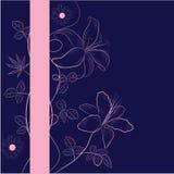 Donkerblauwe achtergrond met bloemen vector illustratie