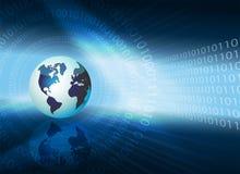 Donkerblauwe achtergrond met cijfers en silhouet van de bol Stock Foto's