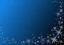 Donkerblauwe achtergrond met vlokken vector illustratie