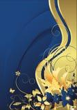Donkerblauwe bloemen en gouden vlinders Stock Foto's