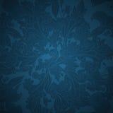 Donkerblauwe bloemenornamentachtergrond Stock Afbeelding