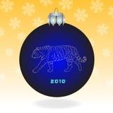 Donkerblauwe bont-boom bal Royalty-vrije Stock Fotografie
