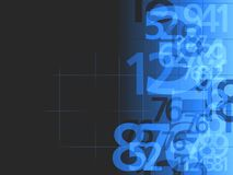 Donkerblauwe de achtergrond van aantallen Stock Afbeeldingen
