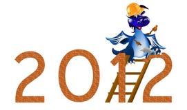 Donkerblauwe Draak de bouwer van het Nieuwjaar Royalty-vrije Stock Afbeelding
