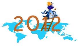 Donkerblauwe Draak de bouwer van het Nieuwjaar Stock Fotografie
