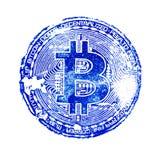 Donkerblauwe druk van bitcoin op wit geïsoleerde achtergrond Voor het ontwerp van virtuele documenten op de crypto munt Een vierk Stock Afbeeldingen