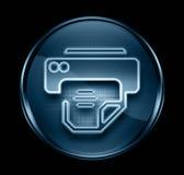 Donkerblauwe het pictogram van de printer. Stock Afbeeldingen
