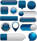 Donkerblauwe hoog-high-detailed moderne knopen. Royalty-vrije Stock Foto's