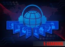 Donkerblauwe Internet-achtergrondc karakters e-leert Stock Fotografie