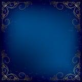 Donkerblauwe kaart met gouden decor - vector stock illustratie