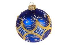 Donkerblauwe Kerstmisbal Stock Fotografie