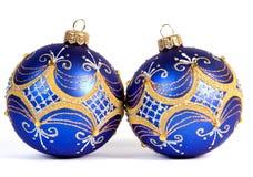 Donkerblauwe Kerstmisballen Stock Foto