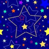 Donkerblauwe naadloze achtergrond met sterren royalty-vrije stock afbeeldingen