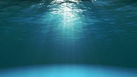 Donkerblauwe oceaanoppervlakte die van onderwater (4k video) wordt gezien stock video