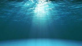 Donkerblauwe oceaanoppervlakte die van onderwater (4k video) wordt gezien