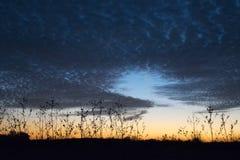 Donkerblauwe onheilspellende hemel bij zonsondergang Stock Foto's