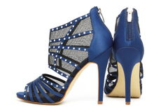 Donkerblauwe sexy partijschoenen Stock Foto's