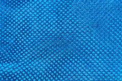 Donkerblauwe textuur van de de stoffenclose-up van de netwerksport Royalty-vrije Stock Foto's