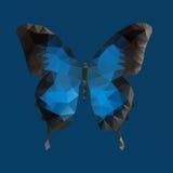Donkerblauwe vectorvlinder in veelhoekige techniek stock illustratie