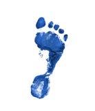 Donkerblauwe voetafdruk Stock Foto's