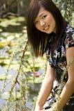 Donkerbruin Aziatisch meisje Royalty-vrije Stock Afbeeldingen