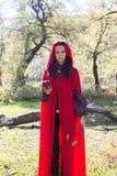 Donkerbruin meisje in een rode regenjas stock fotografie