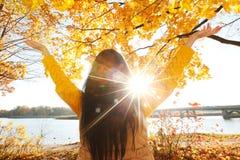 Donkerbruin meisje en gouden bladeren Stock Foto