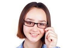 Donkerbruin meisje in glazen Royalty-vrije Stock Afbeeldingen