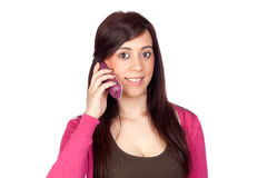 Donkerbruin meisje met een telefoon Stock Fotografie
