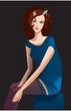 Donkerbruin meisje met mooie libelhaarspeld stock illustratie