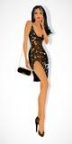 Donkerbruin meisjesmodel in een avondjurk Royalty-vrije Stock Afbeelding