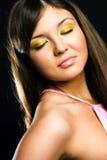 Donkerbruin model met kleurrijke make-up Stock Foto's
