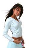 Donkerbruin model in sportkleding royalty-vrije stock afbeeldingen