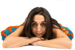 Donkerbruin Vrouwenportret Stock Foto's