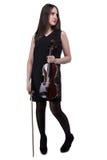 Donkerbruine fiddle van de vrouwenholding Royalty-vrije Stock Foto