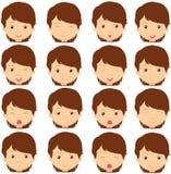 Donkerbruine meisjesemoties: vreugde, verrassing, vrees, droefheid, verdriet, Cr vector illustratie
