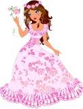 Donkerbruine prinses met rozen Royalty-vrije Stock Foto's