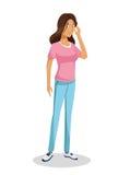 Donkerbruine roze het overhemd van de meisjes leuke tiener status stock illustratie