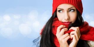 Donkerbruine schoonheid op de wintermanier. Stock Foto's