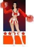Donkerbruine sexy cheerleader Stock Afbeeldingen