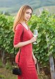 Donkerbruine vrouw die pret in de wijngaarden hebben royalty-vrije stock fotografie