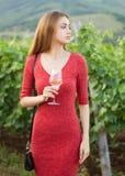 Donkerbruine vrouw die pret in de wijngaarden hebben stock foto