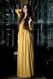 Donkerbruine vrouw in lange kleding - het binnenland van de nachtclub Stock Fotografie