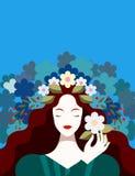 Donkerbruine vrouw met bloemen stock illustratie
