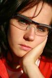 Donkerbruine vrouw met groene ogen royalty-vrije stock afbeelding