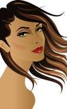 Donkerbruine vrouw met haar bij de wind Stock Foto's
